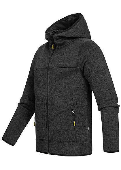 Lowrider Herren Melange Zip-Hoodie Kapuze 2-Pockets schwarz