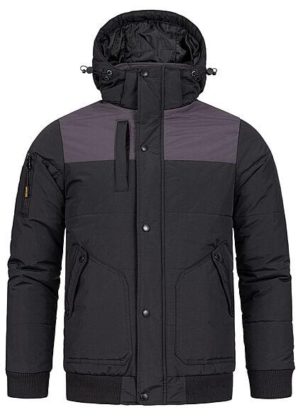 Lowrider Herren Winter Jacke mit Kapuze 2 seitliche Taschen mit Ellenbogenpatches schwarz