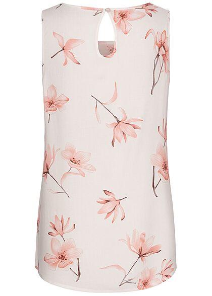 Seventyseven Lifestyle Damen Blusen Top Blumen Print Knopf hinten off weiss rosa