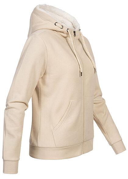 Seventyseven Lifestyle Damen Teddyfell Zip-Hoodie Kapuze 2-Pockets taupe beige
