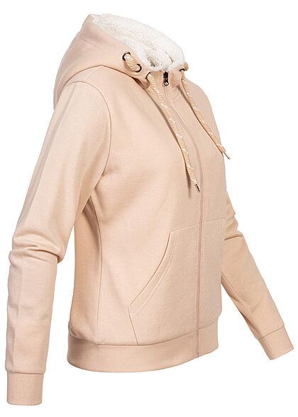 Seventyseven Lifestyle Damen Teddyfell Zip-Hoodie Kapuze 2-Pockets golden glow rosa