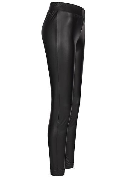 Seventyseven Lifestyle Damen Kunstleder Leggings in Leder Optik schwarz