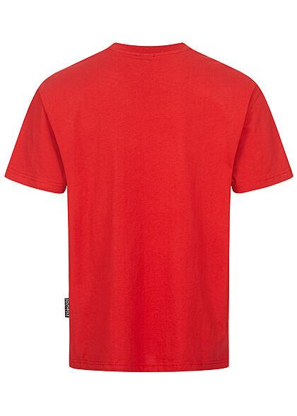 Southpole Herren T-Shirt Athletic Logo Print dunkel rot