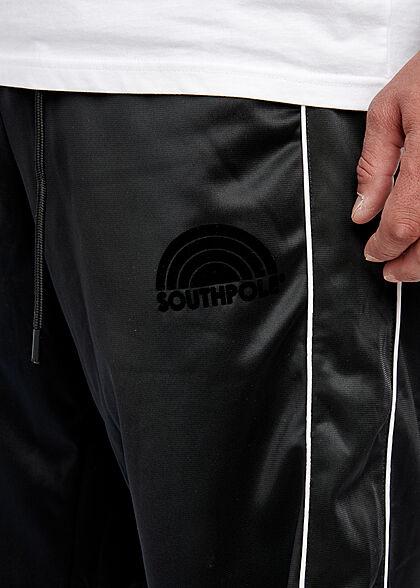 Southpole Herren Jogginghose Retro Style Logo Print 3-Pockets schwarz