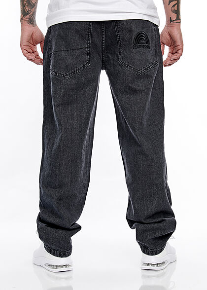 Southpole Herren Jeans Hose Loose Fit Cut Southpole-Logo 5-Pockets raw schwarz