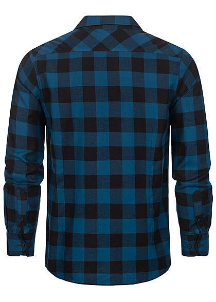 Urban Classics Herren Flanell Hemd kariert zwei Brusttaschen blau schwarz