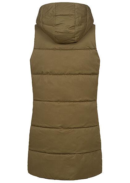 Hailys Damen 2in1 Oversized Longform Steppweste Kapuze beidseitig tragbar beech khaki