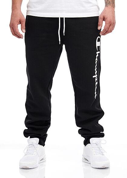 Champion Herren Sweatpants Jogginghose 2-Pockets Logo Schriftzug seitl. schwarz