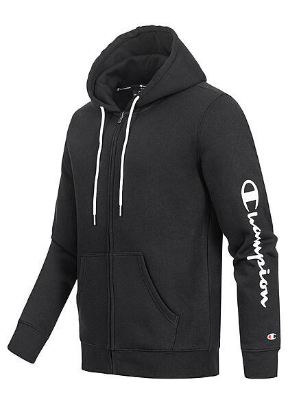 Champion Herren Zip-Hoodie mit Kapuze 2-Pockets Logo Schriftzug seitl. schwarz