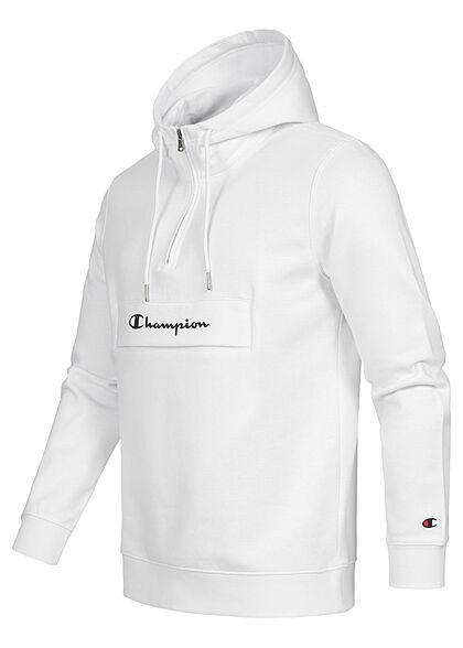 Champion Herren Half-Zip Hoodie mit Pattentasche Logo Print weiss