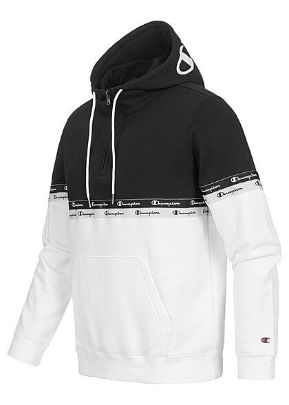 Champion Herren 2-Tone Half-Zip Hoodie mit Logo Tape Kapuze weiss schwarz