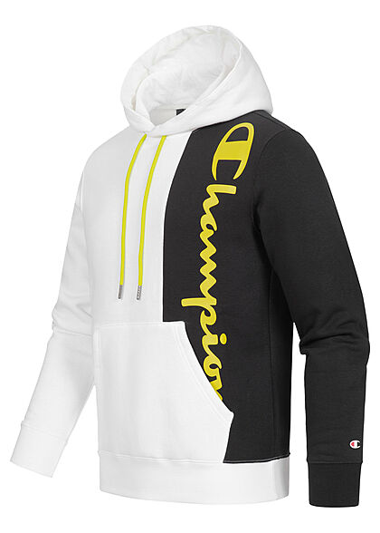 Champion Herren Colorblock Hoodie mit Kapuze Logo Print Kängurutasche weiss schwarz