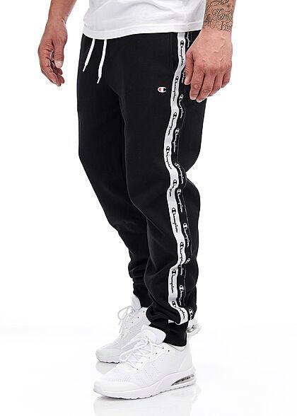 Champion Herren Jogginghose mit Logo-Paspel 2-Pockets Kängurutasche weiss schwarz