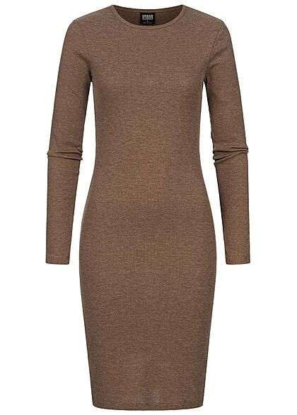 Urban Classics Damen Ribbed Mini langarm Kleid d. khaki
