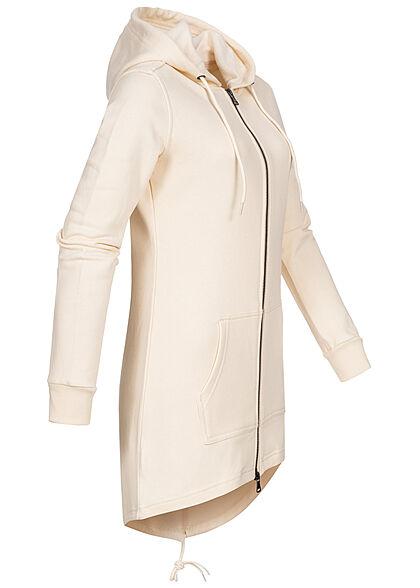 Urban Classics Damen Sweat Zip Hoodie Parka Kapuze 2 Taschen whitesand beige