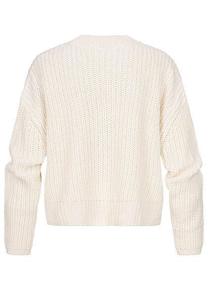 Urban Classics Damen Oversized Grobstrickpullover Sweater Vokuhila whitesand beige