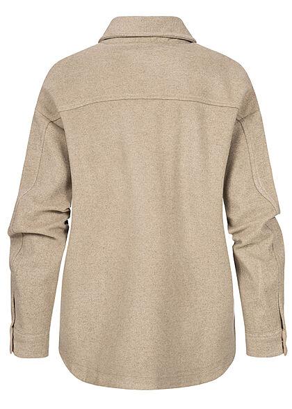 Urban Classics Damen Classic Overshirt Shacket Hemdjacke Knopfleiste lighttaupe beige