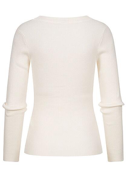 Urban Classics Damen Ribbed Longsleeve Pullover mit weitem Ausschnitt whitesand beige