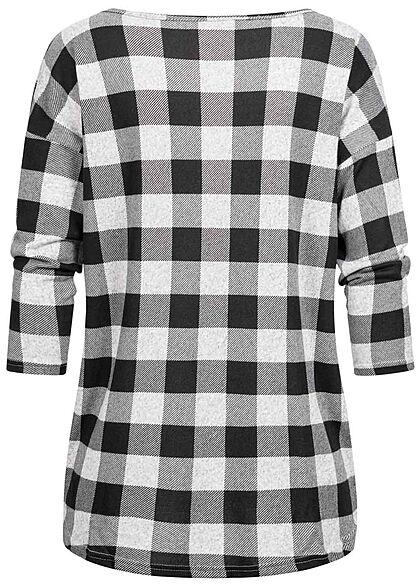 ONLY Damen NOOS 4/5 Arm Shirt Karo Muster Vokuhila hell grau schwarz