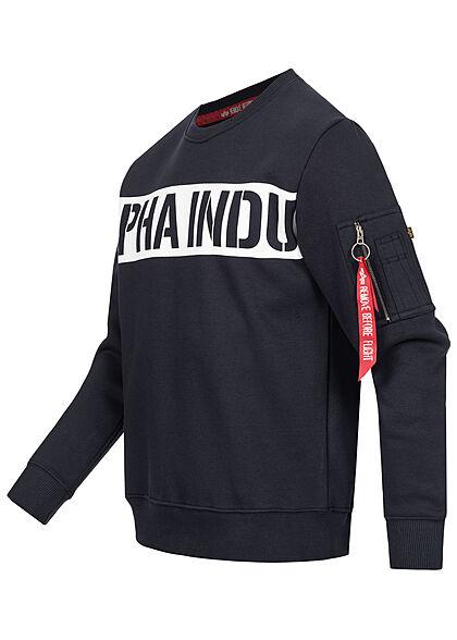 Alpha Industries Herren Sweater Streifen Logo Print rep navy blau