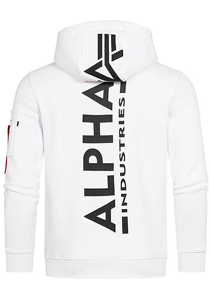 Alpha Industries Herren Hoodie Kängurutasche Kapuze Logo Back Print weiss