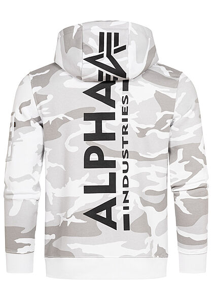 Alpha Industries Herren Hoodie Kängurutasche Kapuze Logo Back Print camo weiss