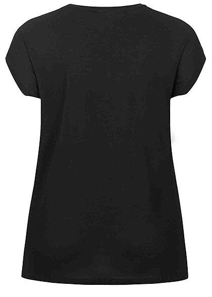 ONLY Carmakoma Damen NOOS Viskose T-Shirt Materialmix Spitze oben schwarz