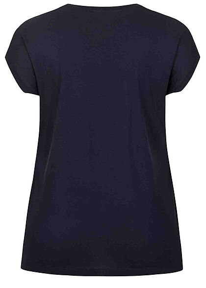 ONLY Carmakoma Damen NOOS Viskose T-Shirt Materialmix Spitze oben night sky blau