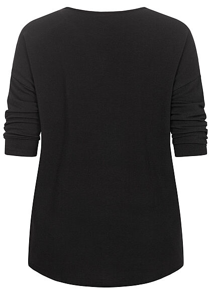 ONLY Carmakoma Damen NOOS 3/4 Arm Shirt Vokuhila schwarz