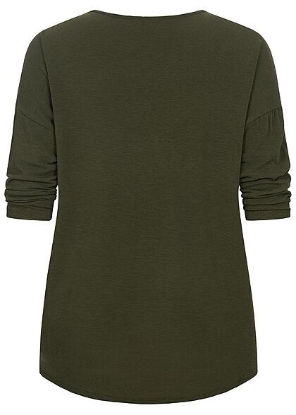 ONLY Carmakoma Damen NOOS 3/4 Arm Shirt Vokuhila kalamata oliv grün