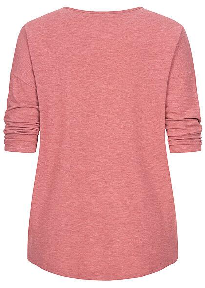 ONLY Carmakoma Damen NOOS 3/4 Arm Shirt Vokuhila mauvewood dunkel pink
