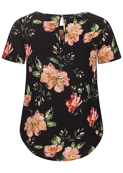 ONLY Carmakoma Damen NOOS Strucktur Blusen Shirt Blumen Print schwarz multicolor