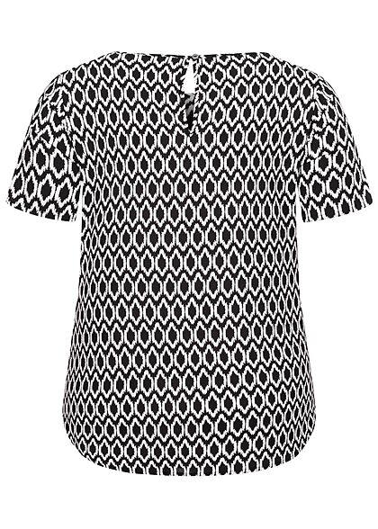 ONLY Carmakoma Damen NOOS Strucktur Blusen Shirt Grafik Zirkel Print schwarz weiss