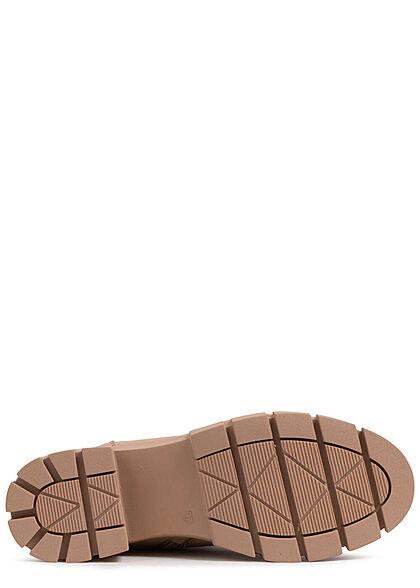 Seventyseven Lifestyle Damen Schuh Schnürrhalbstiefel mit Zipper Kunstleder khaki