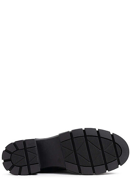 Seventyseven Lifestyle Damen Schuh Schnürrhalbstiefel mit Zipper Kunstleder schwarz