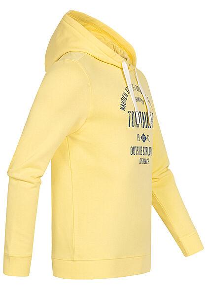 Tom Tailor Herren Hoodie mit Kapuze Logo Print Tunnelzug pale straw gelb