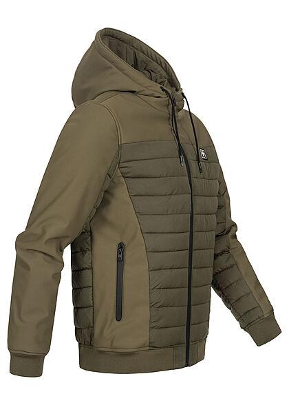 Hailys Herren Winter Jacke mit Kapuze 2-Pockets Materialmix khaki grün