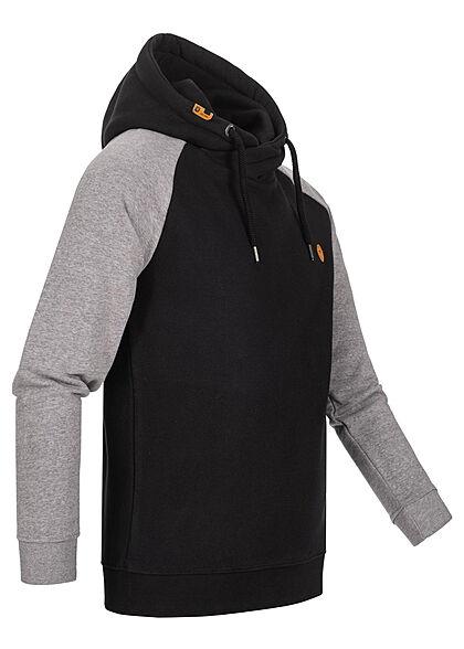 Indicode Herren 2-Tone Hoodie mit Kapuze 2-Pockets Logo Patch schwarz grau