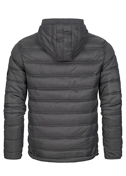 Indicode Herren Übergangs Jacke mit High-Neck Kapuze 2-Pockets dunkel grau