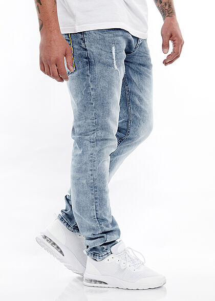Hailys Herren Slim Fit Jeans Hose 5-Pockets mit Kordel am Hosenbund hellblau denim