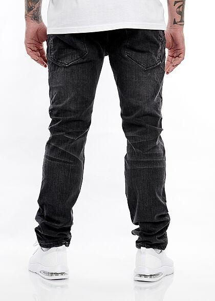 Hailys Herren Slim Fit Jeans Hose 5-Pockets mit Kordel am Hosenbund schwarz denim