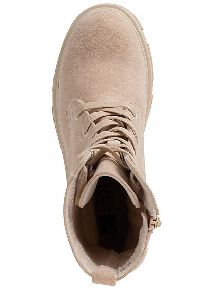 Seventyseven Lifestyle Damen Schuh Schnürhalbstiefel mit Zipper Velouroptik sand beige
