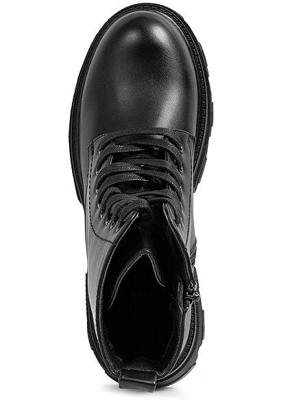 Seventyseven Lifestyle Damen Schuh Schnürhalbstiefel mit Zipper Kunstleder schwarz