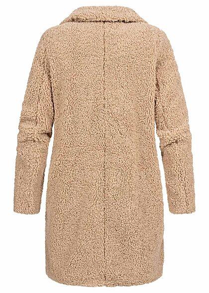 Noisy May Damen NOOS Teddyfell Mantel Jacke 2-Pockets mit Stehkragen pepper beige