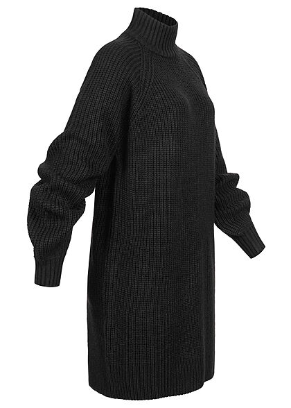 Noisy May Damen NOOS High-Neck Mini Strickkleid mit Ballonärm schwarz