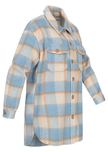 ONLY Damen Kunstfell Longform Shacket Jacke Knopfleiste Karo Muster oatmeal beige blau