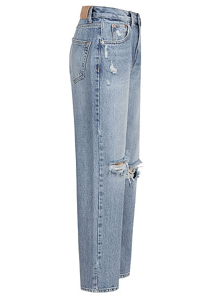ONLY Damen NOOS Oversized High-Waist Jeans 5-Pockets Heavy Destroy medium blau