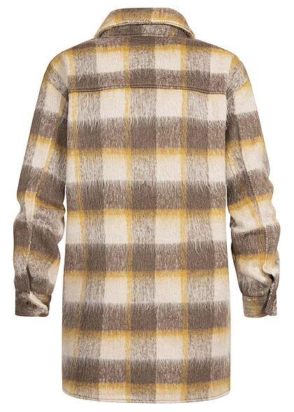 ONLY Damen Kunstfell Longform Shacket Jacke Knopfleiste Karo Muster oatmeal beige gelb
