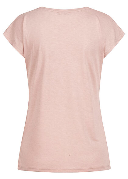 Hailys Damen T-Shirt mit Pailletten & Moment Print rosa