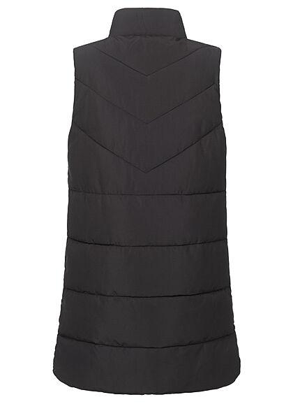 Noisy May Damen NOOS  High- Neck Longform Steppweste 2-Pockets schwarz